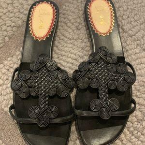CHRISTIAN LOUBOUTIN Sandals Black Copte Flats